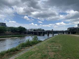 空,橋,京都,雲,川,デート,雨雲