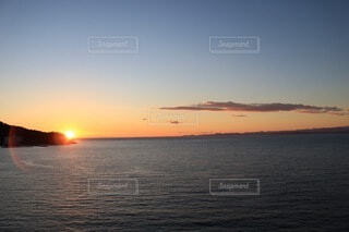 自然,風景,海,空,屋外,湖,雲,夕暮れ,水面,地平線,日の出