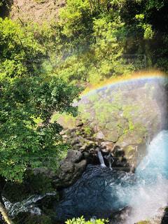 滝にかかる虹の写真・画像素材[4787681]