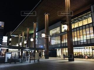 建物,夜,駅,都会,明るい,長野,テキスト
