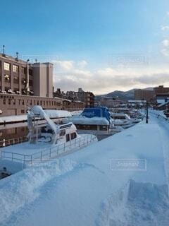 自然,空,冬,雪,屋外,舟,船,川,北海道,景色,旅行,旅,河,小樽,歴史,運河,日中,おたる