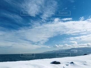 自然,風景,空,冬,雪,屋外,雲,水面,北海道,山,景色,旅行,旅