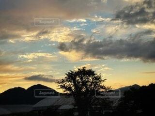 自然,風景,空,夕日,屋外,太陽,雲,夕焼け,夕暮れ,絵,山,樹木,絵画,黄昏,夕陽,日の出,日の入り,龍,ドラゴン,くもり,設定