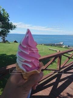 自然,海,空,屋外,ソフトクリーム