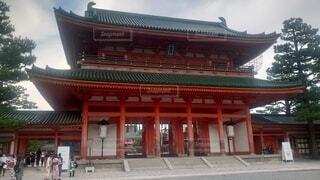 空,建物,屋外,国内,京都,平安神宮,寺,歴史,朱色,建築