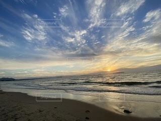 自然,風景,海,空,屋外,太陽,砂,ビーチ,雲,夕暮れ,水面,海岸