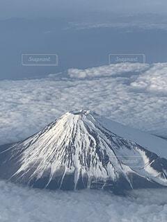 自然,空,富士山,雪,屋外,雲,飛行機,山,景色,日本,航空機,覆う