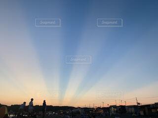 海,空,夏,屋外,太陽,ビーチ,雲,青空,夕焼け,日没,サンセット,夏空