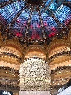 建物,インテリア,花,フランス,パリ,天井,豪華,デパート,ゴージャス,クリスマス ツリー