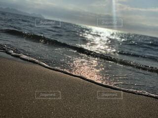 自然,海,夏,ビーチ,波,水面,海岸,逆光,穏やか
