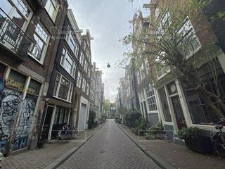 空,建物,秋,自転車,屋外,窓,家,アムステルダム,ストリート,通り,路地裏