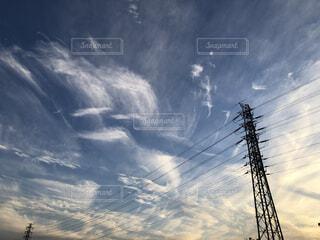 風景,空,屋外,雲,青空,夕暮れ,景観,日中,電線路
