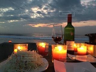 自然,風景,空,砂浜,海辺,キャンドル,ワイン,ボトル
