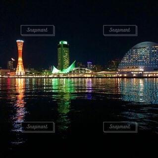 空,建物,夜,橋,屋外,湖,川,水面,都市,反射,タワー,都会,高層ビル,神戸,スカイライン