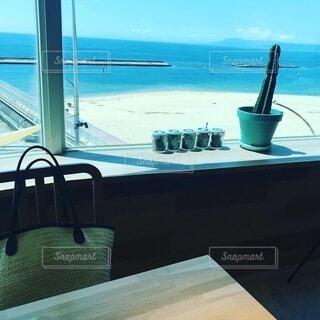 カフェ,空,夏,ボート,海辺,窓,船,水面,テーブル,家具,beach,休暇,小旅行