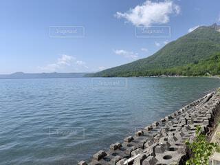 自然,風景,空,屋外,湖,ビーチ,雲,水面,山,岩