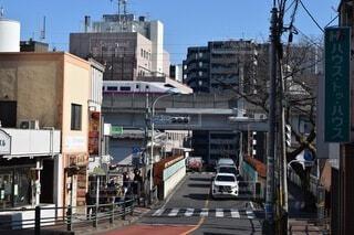 建物,屋外,看板,車,都市,坂道,新幹線,通り,車両