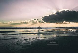 自然,海,空,屋外,太陽,ビーチ,雲,夕暮れ,水面