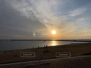自然,海,空,夕日,屋外,太陽,ビーチ,雲,砂浜,夕暮れ,水面,海岸