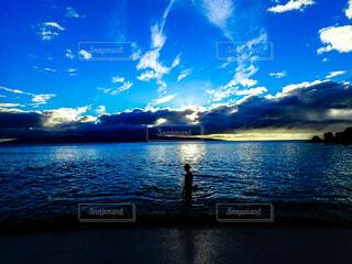風景,海,空,ビーチ,夕暮れ,水面,シルエット,黄昏,ノスタルジック