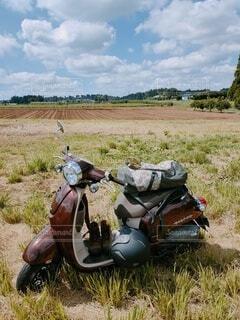 空,屋外,緑,草原,青,バイク,景色,草,バック,HONDA,ヘルメット,畑,お出かけ,原付,陸上車両,ジョルノ