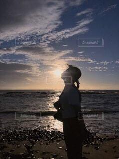 海,空,太陽,朝日,影,キス