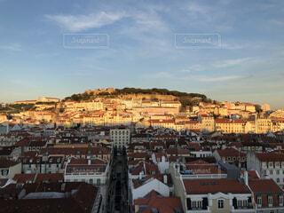 風景,空,建物,屋外,雲,夕焼け,山,家,タワー,都会,リスボン