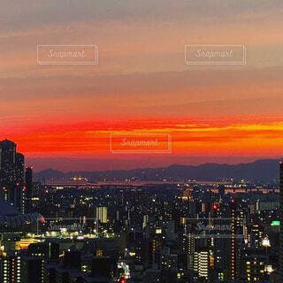 風景,夕暮れ,オレンジ,都会