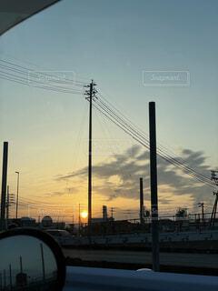 空,屋外,雲,夕焼け,夕暮れ,日没,電柱,電信柱
