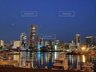 自然,風景,海,夜景,船,景色,高層ビル