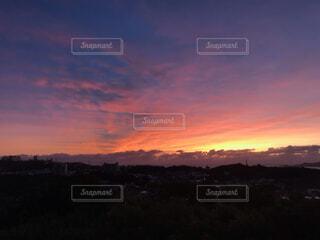 風景,空,屋外,朝日,朝焼け,日の出,朝の赤い空