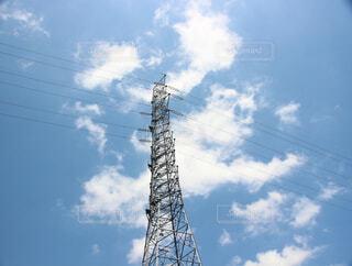空,屋外,白,雲,青空,青,電線