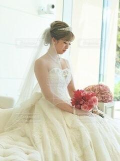 女性,風景,花,アクセサリー,結婚式,花嫁,人物,人,ウェディングドレス,装飾,ベール,ブライダルベール,ブライダル服