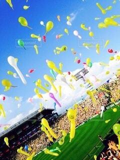 風景,空,緑,雲,風船,景色,平和,野球,芝,球場,甲子園球場,阪神タイガース,ジェット風船