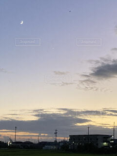 自然,風景,空,屋外,雲,夕焼け,夕方,月