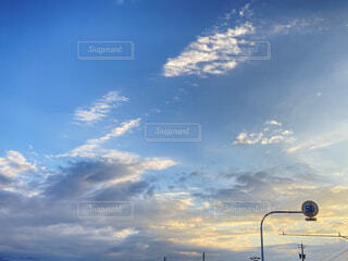 空,屋外,雲,夕方,標識,明るい