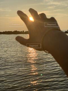 空,屋外,湖,太陽,ビーチ,夕暮れ,水面