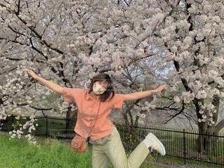 風景,花,春,桜,屋外,緑,草,人物,人,空気