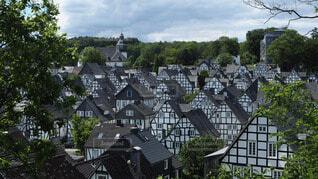 街並み,緑,白,青空,青,黒,ヨーロッパ,木々,ドイツ,ライフスタイル,古い街並み,フロイデンベルク