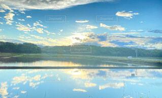 自然,風景,空,絶景,雲,綺麗,青空,散歩,水面,反射,田んぼ,雨上がり
