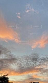 空,屋外,雲,夕方,田舎,茜色