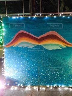 冬,夜,綺麗,水面,イルミネーション,ライトアップ,灯り,絵画,羽,映える