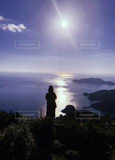 自然,空,屋外,ビーチ,雲,山,丘,人物,人,立つ,ハイキング