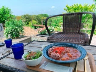 食べ物,空,食事,屋外,フード,テーブル,樹木,ピクニック,植木鉢,草木,飲食,ガーデン
