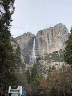 自然,風景,空,屋外,山,滝,樹木
