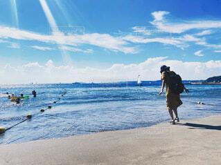 自然,海,空,夏,屋外,ワンピース,ビーチ,雲,水面