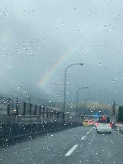 自然,雨,虹,車,テキスト