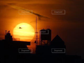 風景,空,太陽,飛行機,夕陽