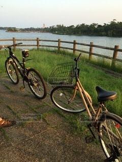 風景,空,自転車,夜明け,湖畔