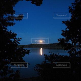 自然,風景,空,屋外,湖,水面,樹木,月